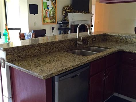 santa cecilia gold granite countertops installation kitchen