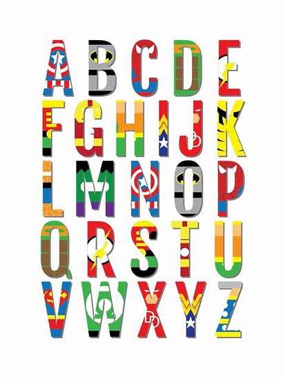 Superhero Nursery Alphabet Abc Superheroes Prints Avengers