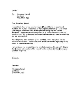 Complaint Letter Against Tenant Template