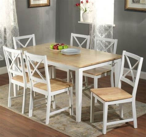 pc white dining set kitchen room table chairs bench wood