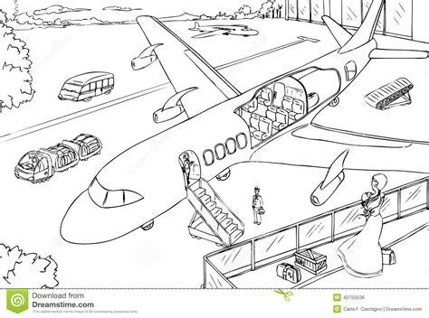 Vliegveld Kleurplaat by Dwarsdoorsnede Vliegtuig En Luchthaven Vector