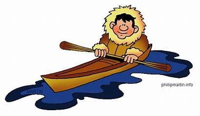 Far Canoe Arctic Canoes North Native Clipart