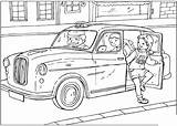 Taxi Coloring British United sketch template