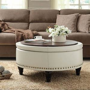 Round wood coffee table tray for white leather ottoman for Round coffee table with sectional sofa