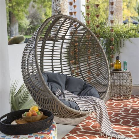 review wicker hanging chair with stand by island bay