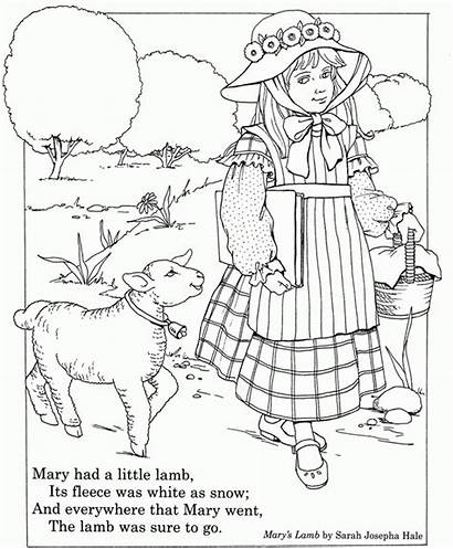 Lamb Mary Had Coloring Nursery Rhyme Pages