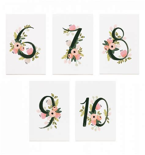 Botanical Table Numbers By Ri E Paper Made In Usa