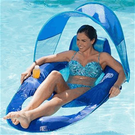 reclining pool float swimways 13022 float recliner with canopy