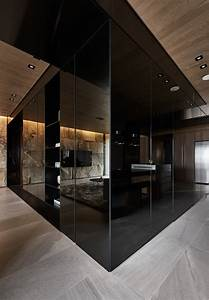 Black, Acrylic, Glass, And, Stone, Form, This, Dark, And, Sophisticated, Apartment, Interior
