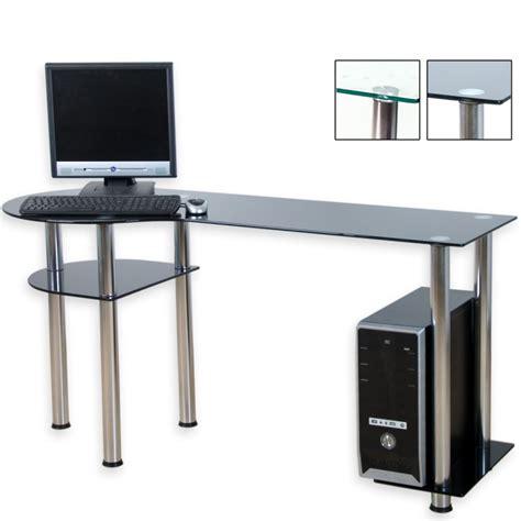 bureau d ordinateur bureau d 39 ordinateur en verre noir 145 x 60 x 72 cm