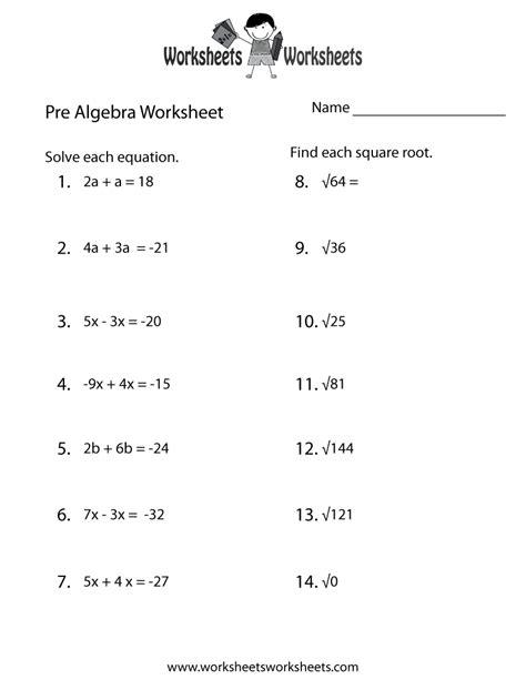 pre algebra practice worksheet  printable