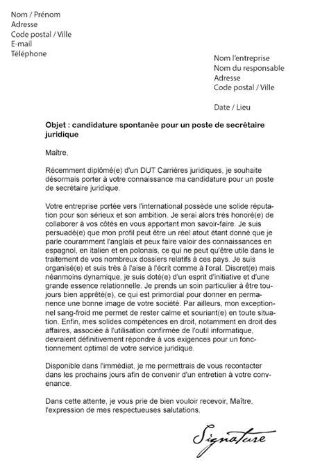 lettre de motivation secr 233 taire juridique mod 232 le de lettre