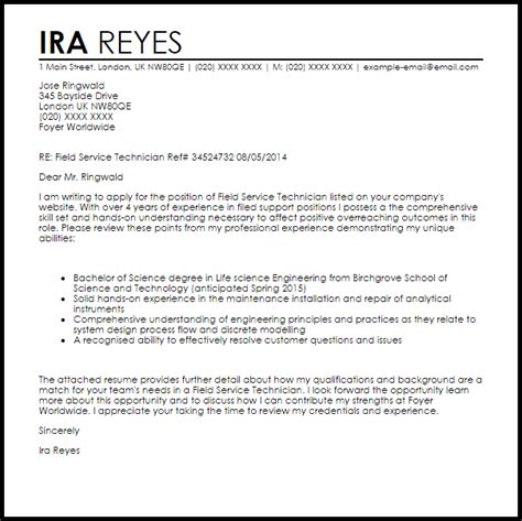 field technician cover letter sample cover letter templates examples