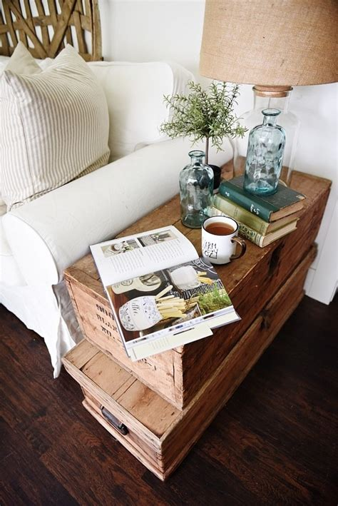 living room makeover stacked trunk  table liz marie