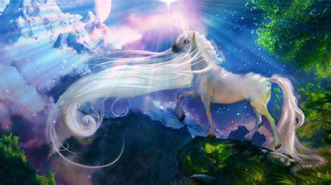 white horse unicorn fantasy art wallpaper hd