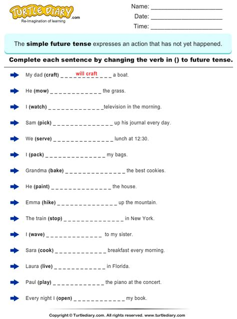 change the verbs to future tense form 1 worksheet