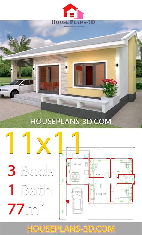 Simple House Design Plans 11x11 with 3 Bedrooms House