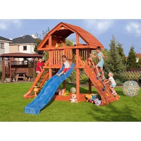 aire de jeu exterieur aire de jeux en bois tornade pour enfants toboggan cabane achat vente station de jeux