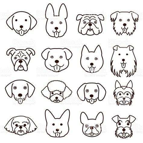 cute dogs faces  art set stock illustration