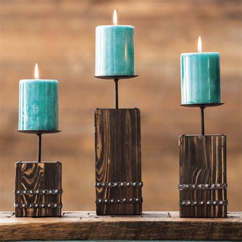 southwest wood candle holder set  pcs