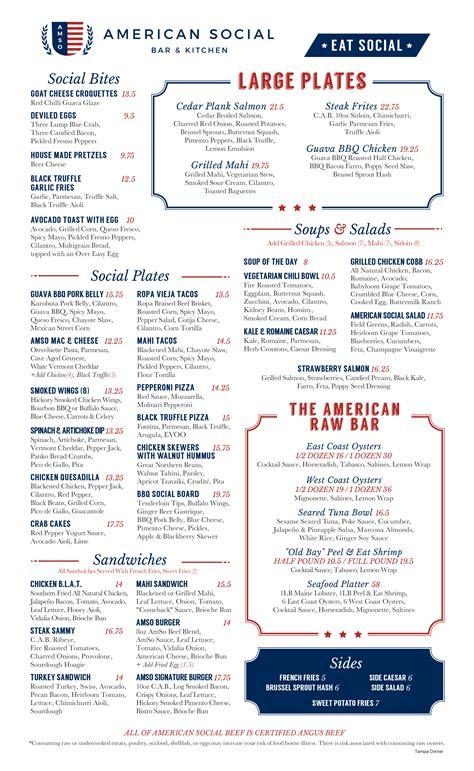 Our Tampa, FL Location Dinner Menu | American Social