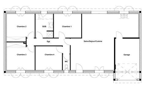 plan maison 100m2 4 chambres plan de maison 100m2 4 chambres