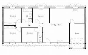plan de maison 100m2 4 chambres With plan maison 100m2 3 chambres