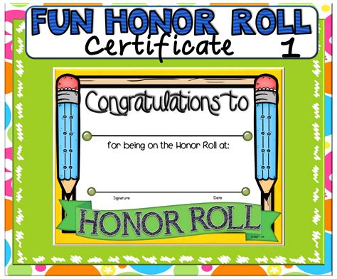 Honor Roll, Certificate
