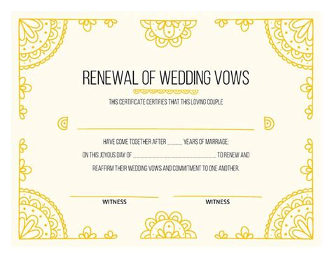 Vow Renewal Certificate Template by Free Printable Gold Certificate Of Vow Renewal