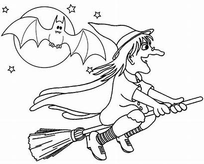 Moon Witch Coloring Across Flying Halloween Mitraland