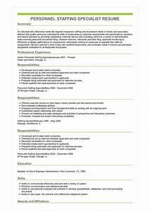 Customer Service Associate Job Description Resume Sample Personnel Staffing Specialist Resume