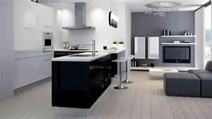 cuisine moderne noir et blanc vente cuisine meubles With cuisine moderne noir et blanc