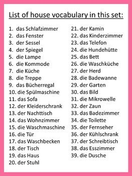 german house vocabulary ich habe wer hat game