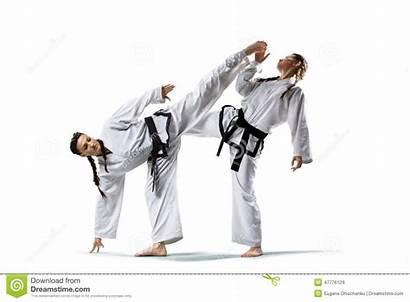 Karate Female Professional Taekwondo Fighters Fighting Martial