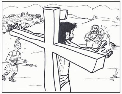 Jesus Cross Coloring Mark Drawing Drawings Pages