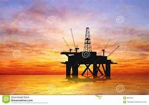 Silhouette Oil Rig Stock Illustration  Illustration Of