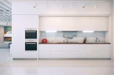 Small Kitchen With Island Ideas - contemporary white kitchen interior design ideas