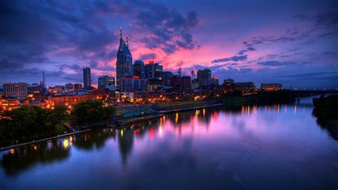 nashville cumberland river dusk lights wallpaper