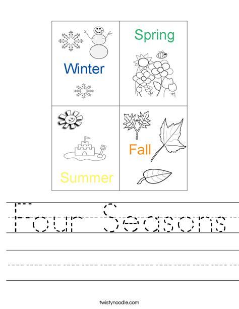 four seasons worksheets for kindergarten seasons in