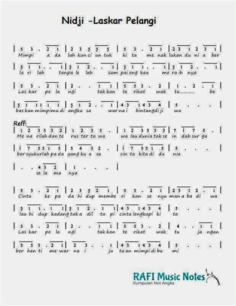 not angka lagu prahu layar rafi notes not angka nidji laskar pelangi