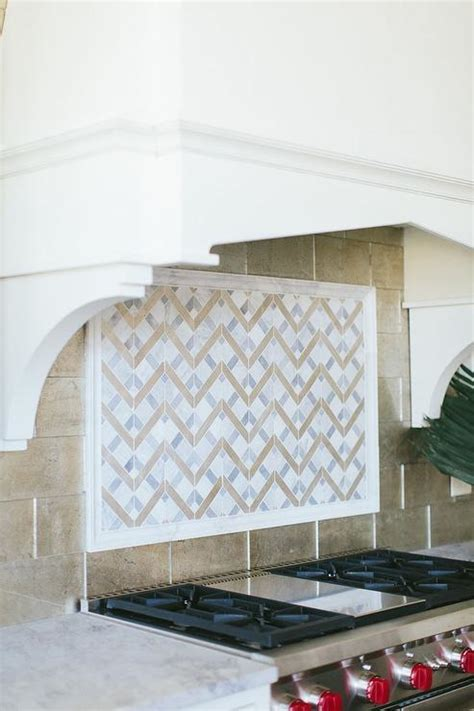 White and Gray Mosaic Cooktop Tiles with Wolf Stove