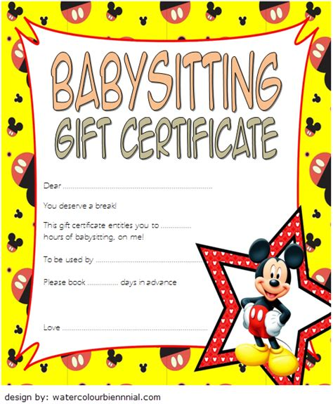 babysitting gift certificate template    choices