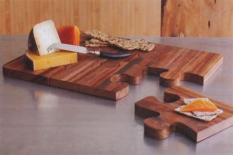 Wooden Puzzle Board Cheese Serving Tray: NOVA68.com