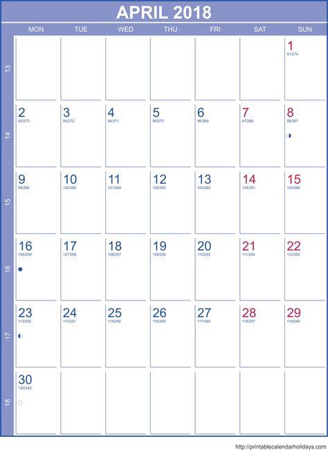 Free Calendar Template 2018 April 2018 Calendar Template Calendar Printable Free