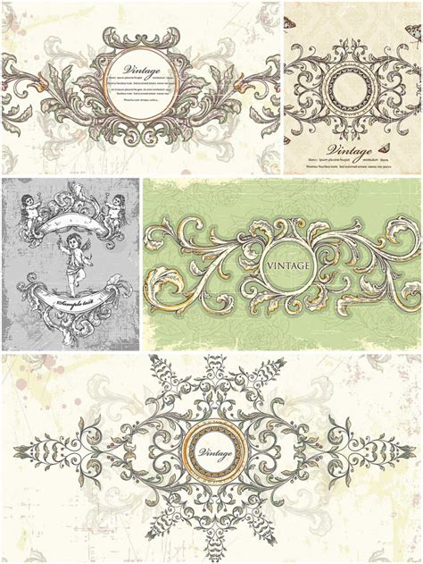 vintage wedding frames set vector