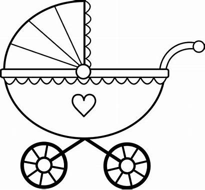 Coloring Shower Pages Clip Clipart Carriage Stroller
