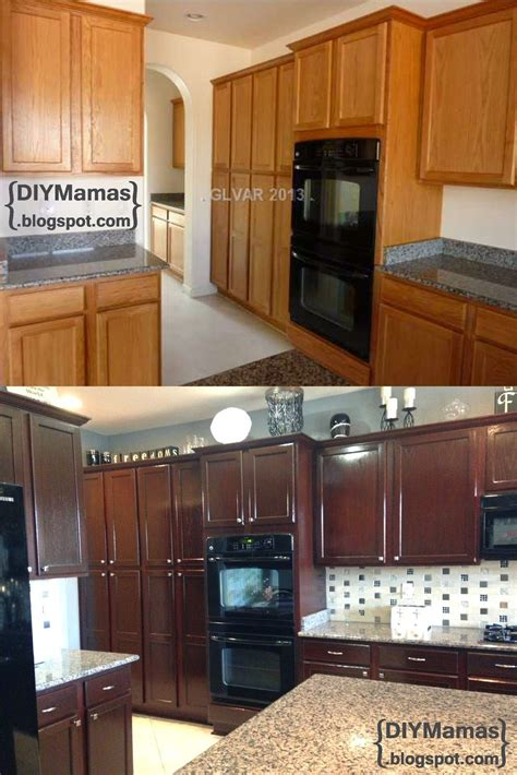 how to restain kitchen cabinets yourself diy mamas kitchen makeover gel stain backsplash 8891