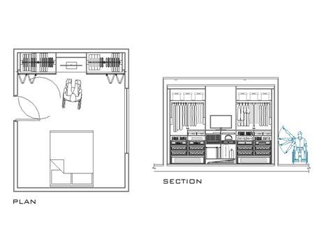 glass door cabinet 2d cad wardrobe designed for disabled