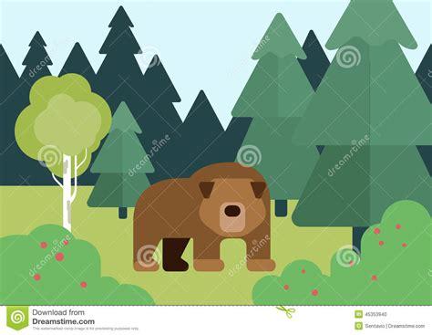 flat design cartoon vector wild animals bear   forest