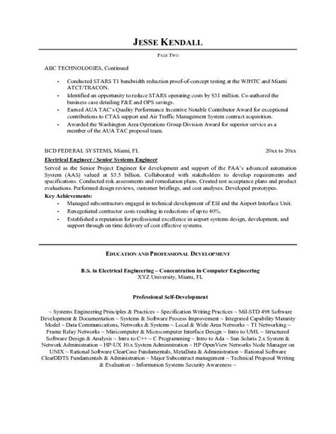 free electrical systems engineer resume exle